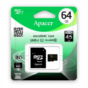 Apacer Micro SDHC 64GB, Class10, UHS-I U1, w/ 1 Adapter RP