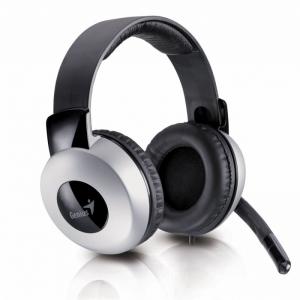 Genius Headphone + Microphone, full- size- ear cup design, adjustable headband, HS-05A